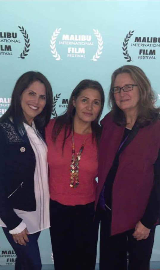 Sands of Silence Executive Producer Deirdre Roney, main character Virginia Isaias, director Chelo Alvarez-Stehle
