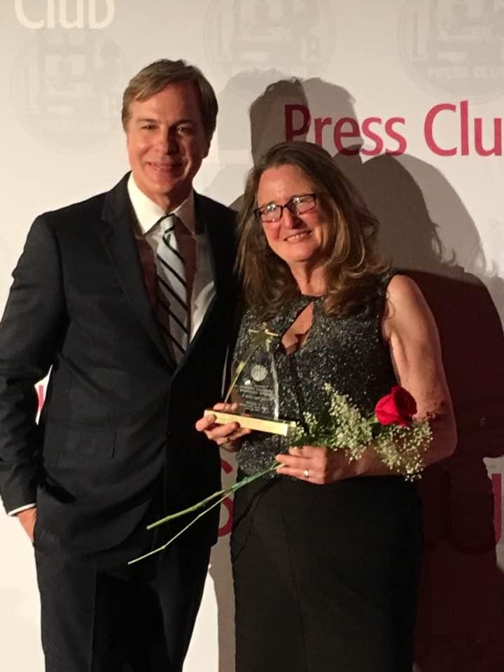 Robert Kovacik NBC presents SoCal Journalims Award to Chelo