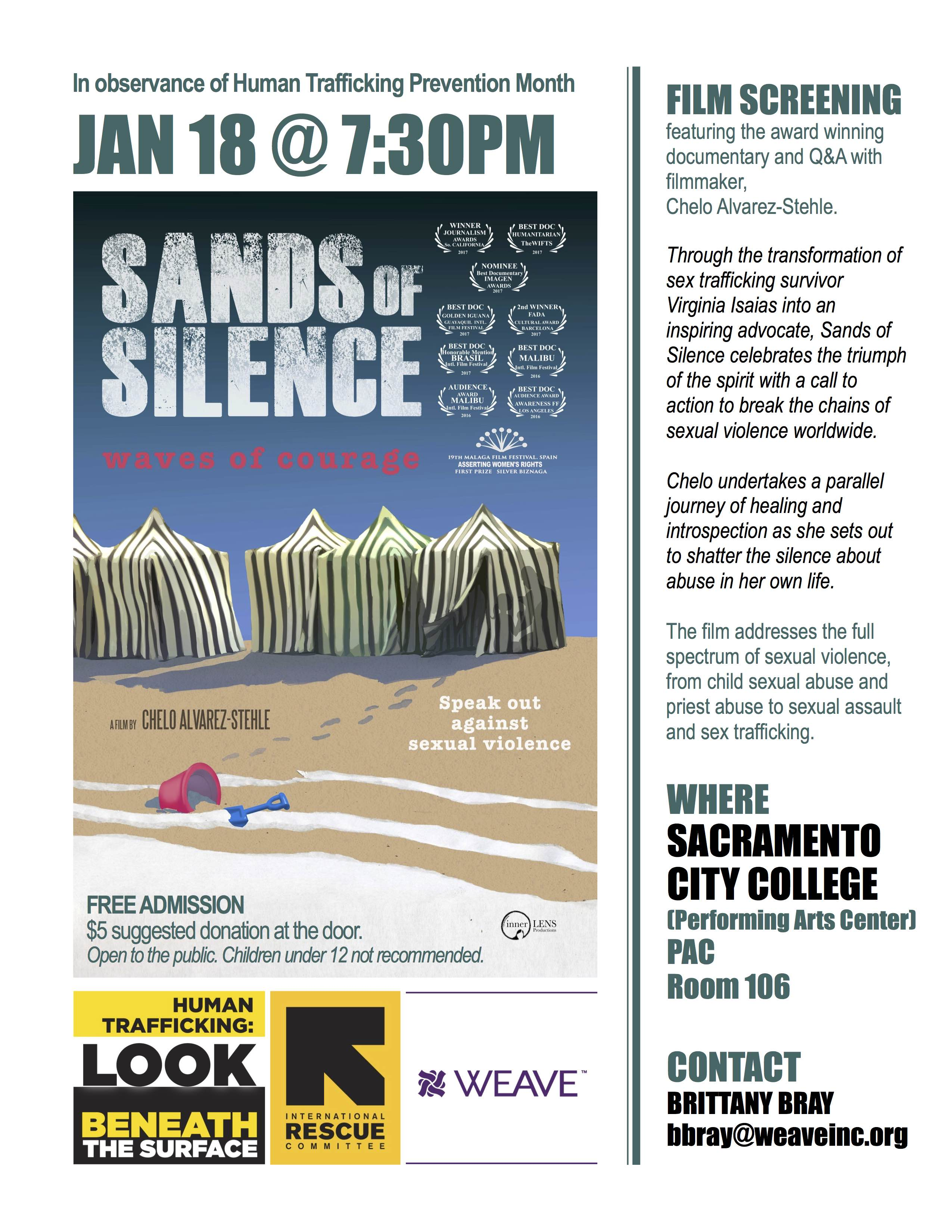 Sands of Silence WEAVE Film Screening Flyer